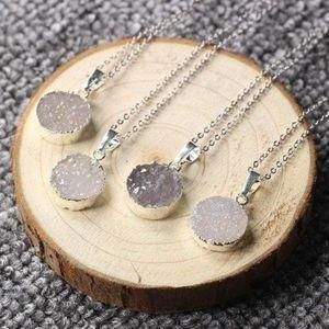 Glittering Round Agate Druzy Necklace